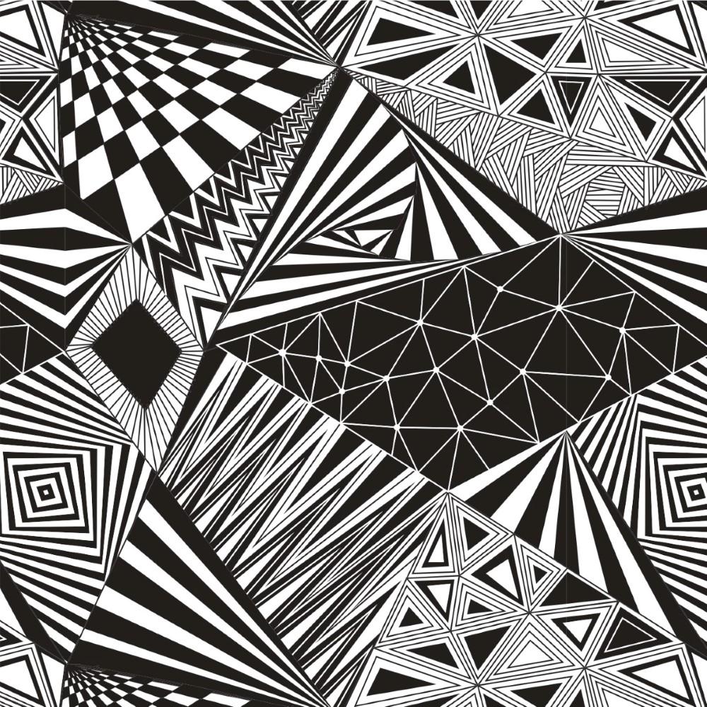 Black And White Geometric Wallpaper Papel De Parede Adesivo Geom 233 Trico Preto E Branco Stickdecor