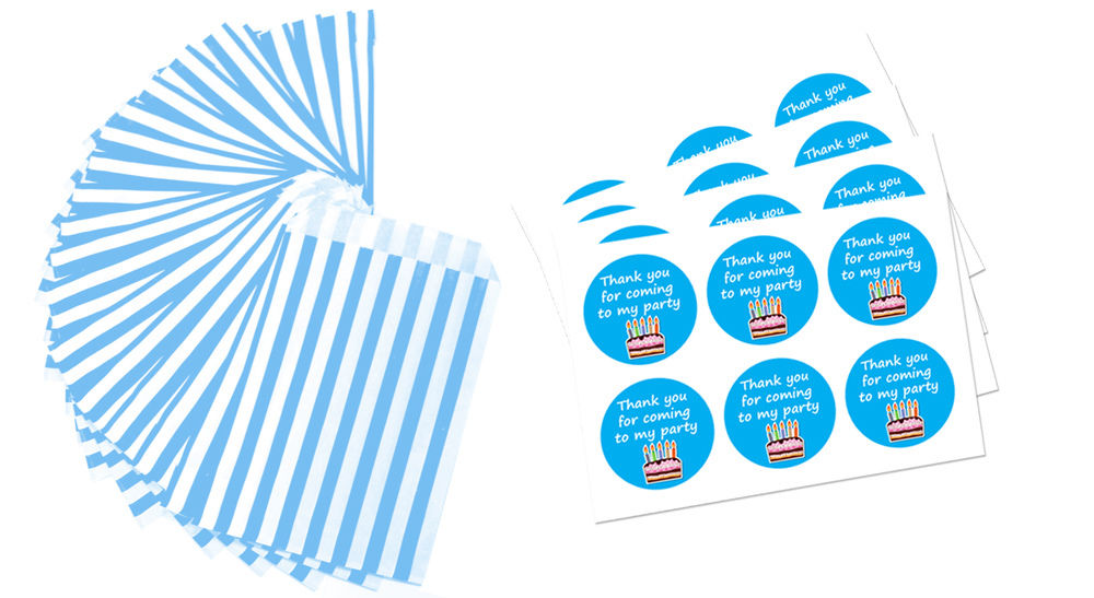 Amazing Blue White Paper Party Bags 60mm Birthday Cake Stickers 24