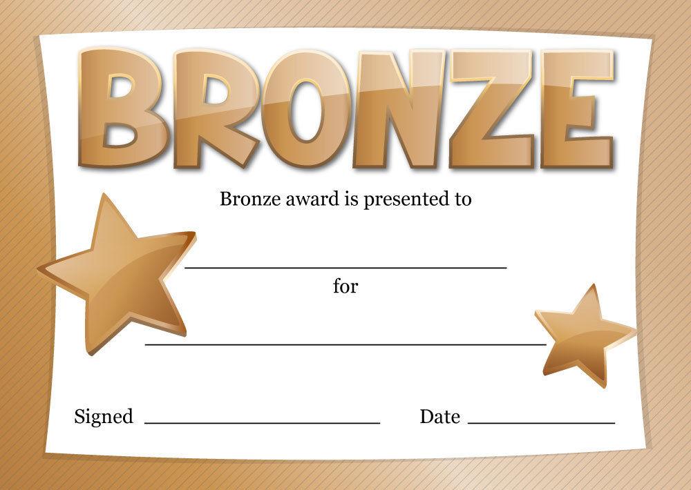 Gold, Silver or Bronze Award Certificates \u2013 16 x A6 \u2013 sport, school