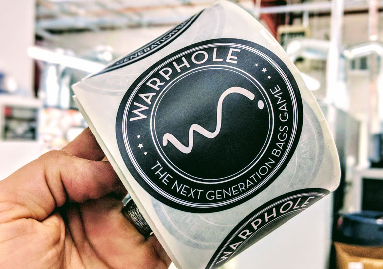 Custom product labels for Warphole Bags help brand the next