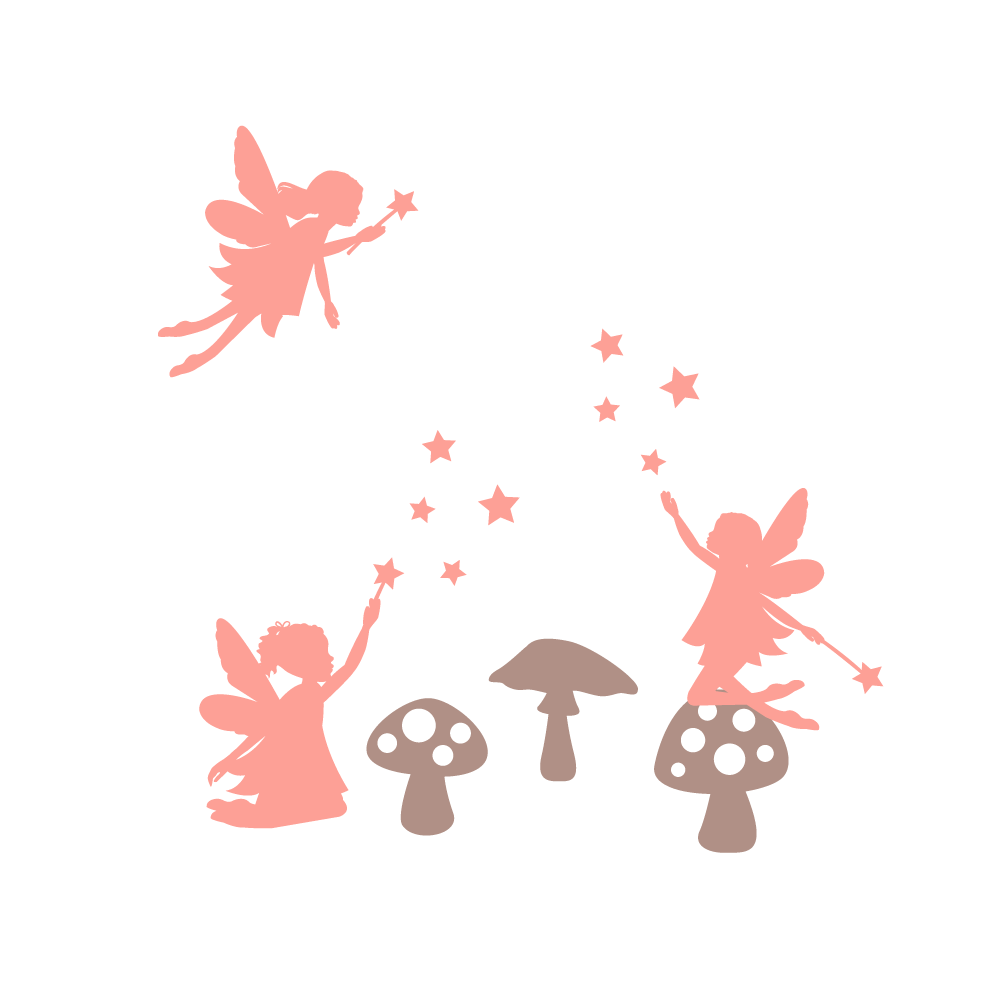 Fairy and toadstool wall sticker pack 1