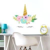 Glitter unicorn horn wall sticker | Unicorn wall stickers ...