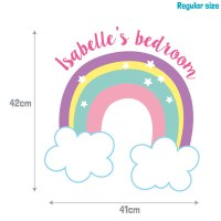 Personalised rainbow and clouds wall sticker ...