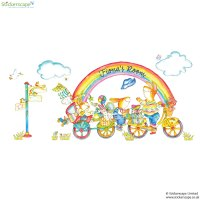Personalised Rainbow Bike wall sticker | Stickerscape | UK
