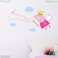 Personalised fairy princess Peppa wall sticker ...