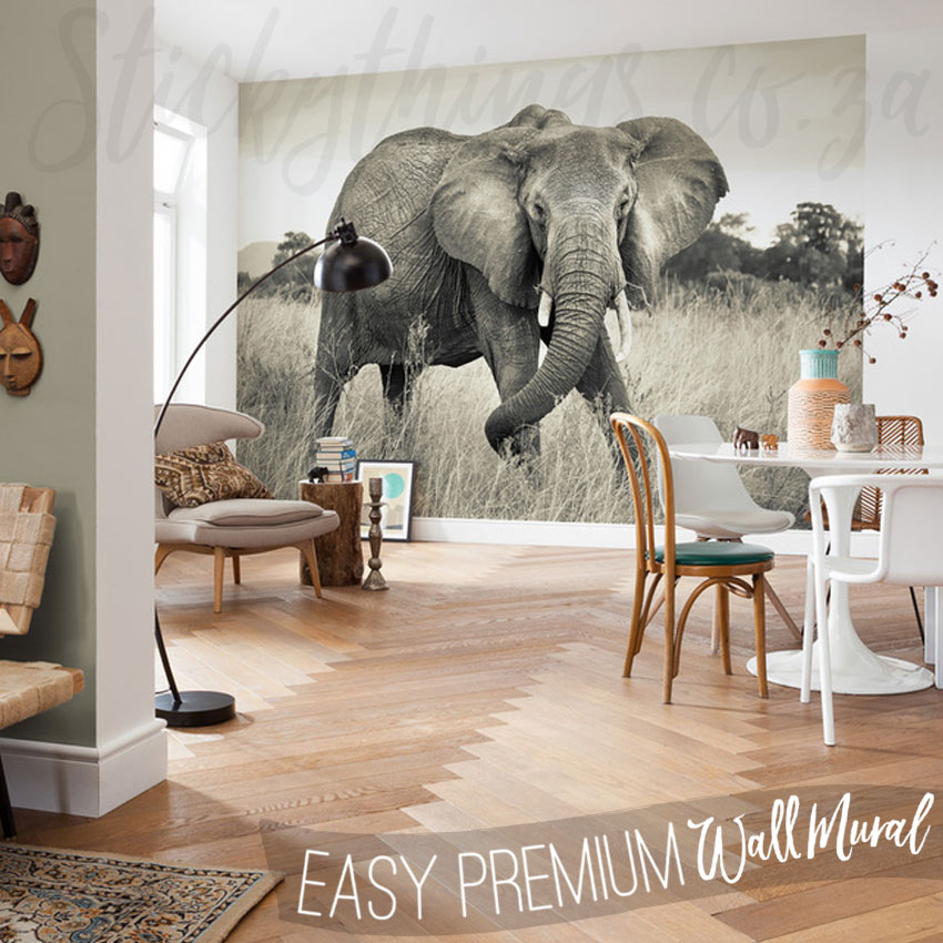 3d Brick Wallpaper For Walls African Elephant Wall Mural Sepia Elephant Wallpaper
