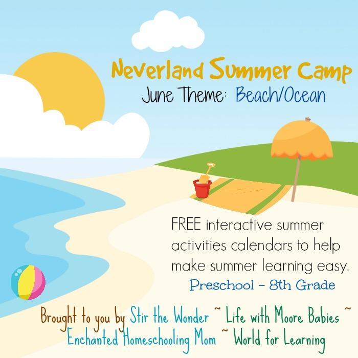 Neverland Summer Camp for Preschool  Kindergarten June Calendar