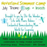 July Neverland Summer Camp (Preschool & Kindergarten) Calendar- Insect Theme