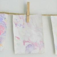 Shaving Cream Marbling Process Art Painting