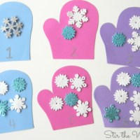 Mitten Math Snowflake Counting for Preschoolers