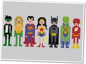 Pixel People - Justice League of America from weelittlestitches on Etsy