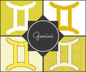 Gemini Zodiac Cross Stitch and Blackwork Pattern Preview