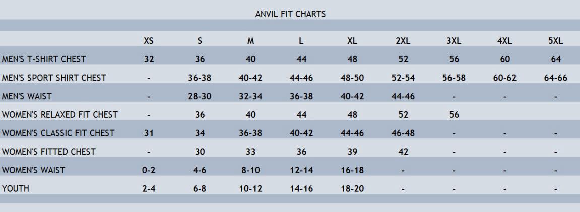 Anvil Size Chart Stitch Logo Uniforms