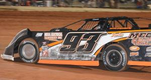 Jonathan Davenport in the #93 of Donald Brasher led flag to flag in the Turkey 100. Photo by Phillip Prichard.