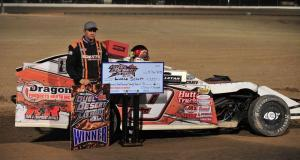 Lucas Schott of Chatfield, Minn., won the 18th annual Duel in the Desert at the Dirt Track at LVMS on his first try on Saturday night. Photo by Instant Images.