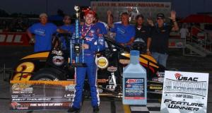 """Tanner Swanson celebrates in victory lane after winning Friday night's """"Carb Nigh Classic"""" at Lucas Oil Raceway in Brownsburg, Indiana. (RICH FORMAN PHOTO)"""