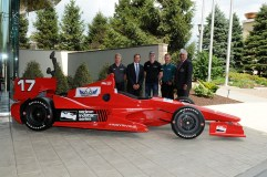 Photo from left to right--Spencer Pigot, Track Owner, Curtis Francois, Josef Newarden, Ed Carpenter, and Mark Miles, Chief Executive Officer, Hulman & Company. -- Don Figler photo