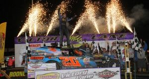 Fireworks provided the post-race backdrop to Ricky Thornton Jr.'s Modified championship at the IMCA Speedway Motors Super Nationals fueled by Casey's. (Photo by Bruce Badgley, Motor­sports Photography)