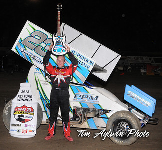 Seth Bergman earned his first ASCS National Tour triumph at the Riverside International Speedway with the 4th annual Rock-N-Roll 50. Photo Credit Tim Aylwin