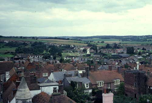 The skyline from the church, looking towards the windmill. Note the customs tower standing derelict and overgrown in the right foreground (1980)