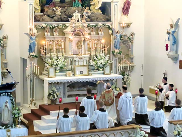 Benediction in the church at the end of the procession
