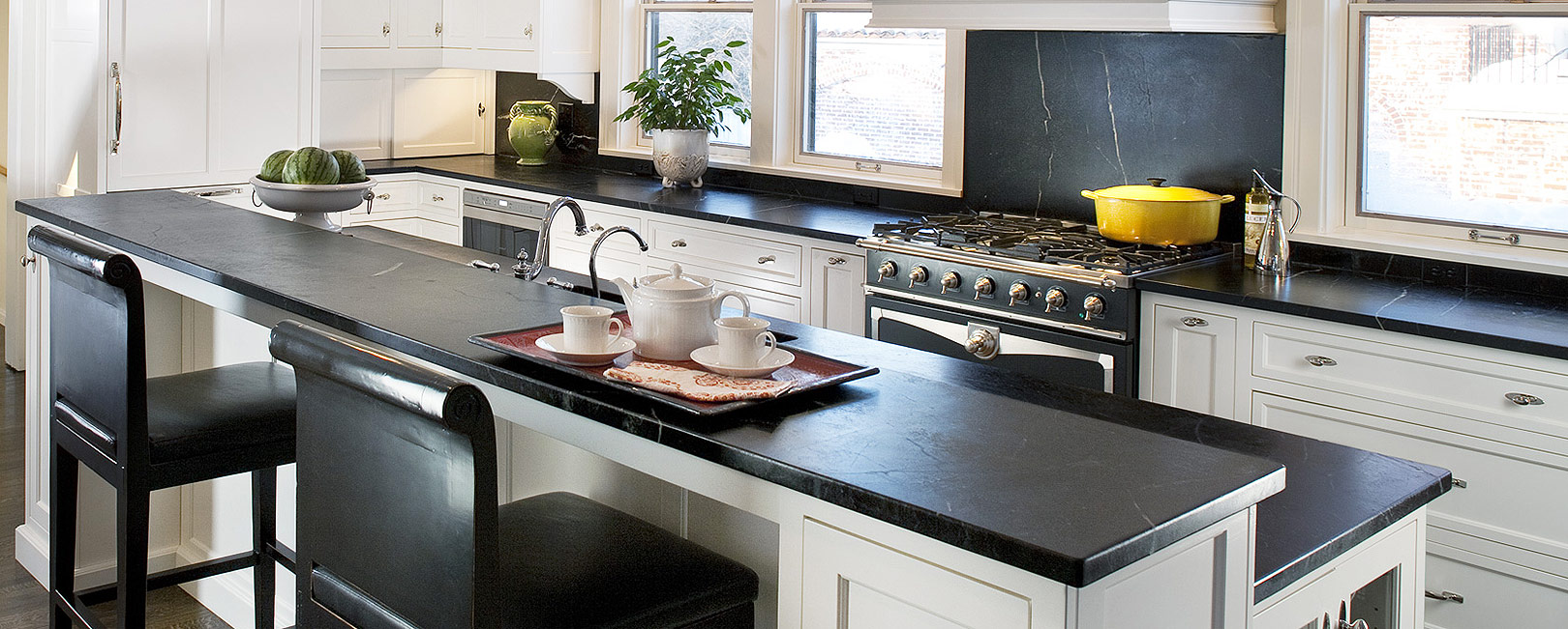 all you need to know about soapstone countertops soapstone kitchen countertops Finished soapstone kitchen countertop Photo Source RSWStone