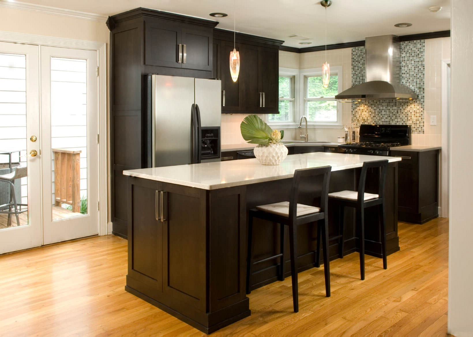 black metal carving pendant lamps rustic wooden dining set stainless steel sinks chocolate wooden cabinet dark wood floors with white cabinets desireerover