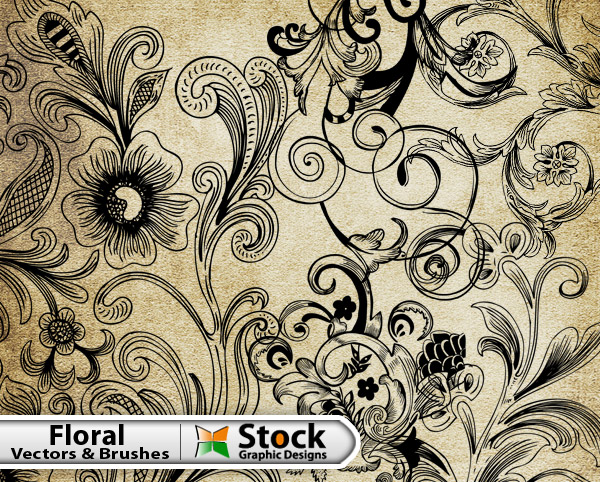 Free Floral Vector  Brush Pack Vector  Photoshop Brushes Stock