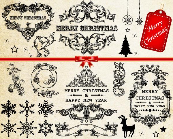 Vector Christmas Decoration Frames  Floral Elements Vector