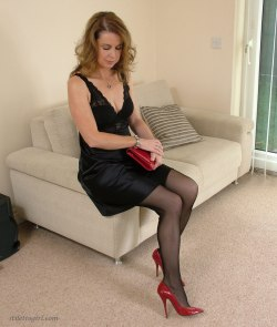 in her shiny black dress and red stilettos | Free Sexy High Heels ...