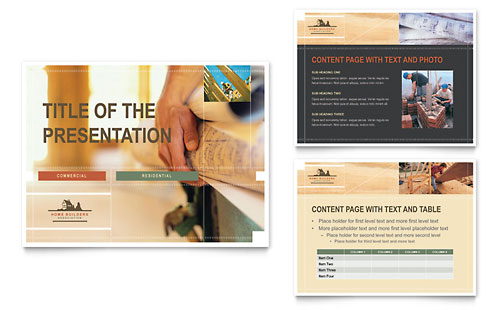 Home Building Contractor Presentations Templates  Graphic Designs