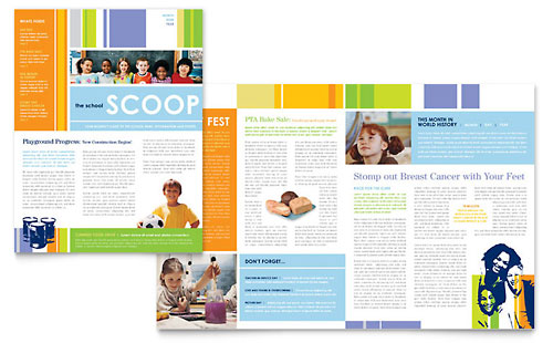 Learning Center \ Elementary School Newsletter Template Design - school newsletter templates