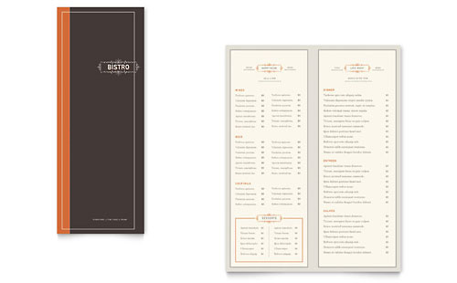 Bistro  Bar Take-out Brochure Template Design - Free Drink Menu Template