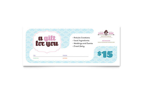 Bakery  Cupcake Shop Gift Certificate Template Design - gift certificate word template