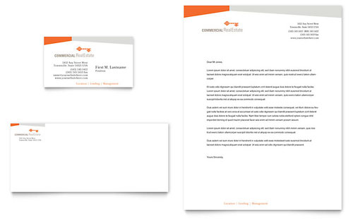 Commercial Real Estate Property Business Card \ Letterhead - letterhead format in word