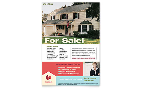 Home Real Estate Flyer Template Design - home sale flyer template
