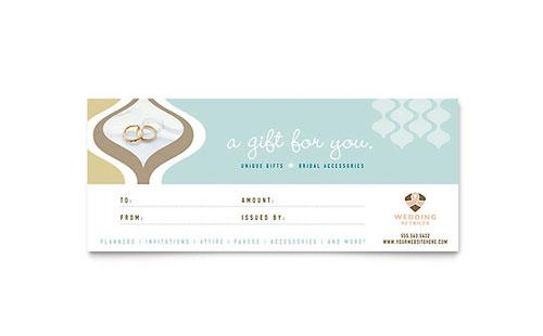 Wedding Store  Supplies Gift Certificate Template Design