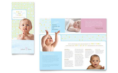 Infant Care  Babysitting Brochure Template Design