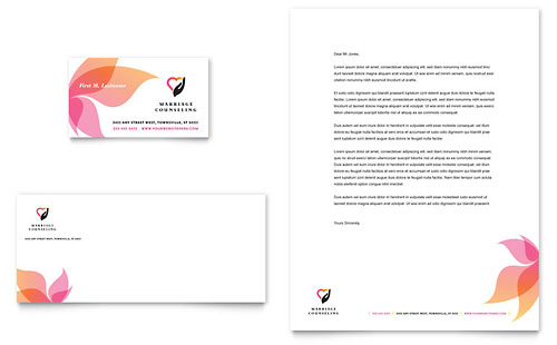 Marriage Counseling Business Card  Letterhead Template Design - name card format