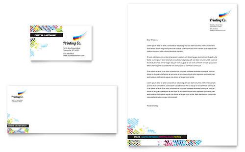 Printing Company Business Card  Letterhead Template Design - company letterhead word template