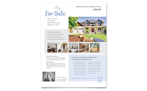 Real Estate Listing Flyer Template Design - home sale flyer template