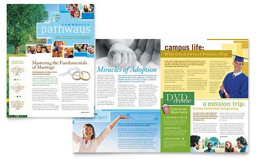 Community Church Newsletter Template Design - news letter formats