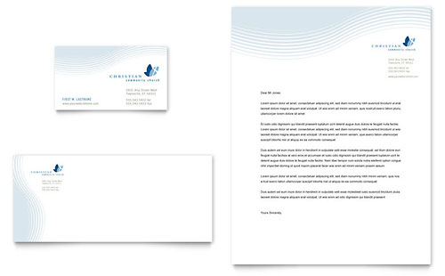 Christian Ministry Business Card  Letterhead Template Design - microsoft stationery template