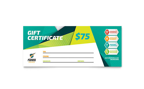 Personal Training Gift Certificates Templates  Graphic Designs