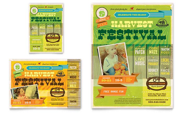 Harvest Festival Flyer  Ad Template Design
