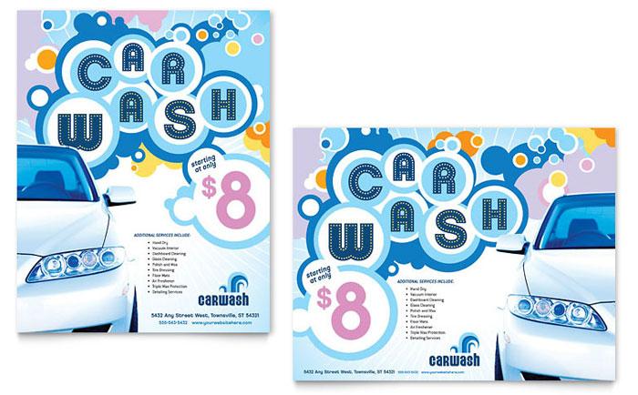 Car Wash Poster Template Design - car wash flyer template