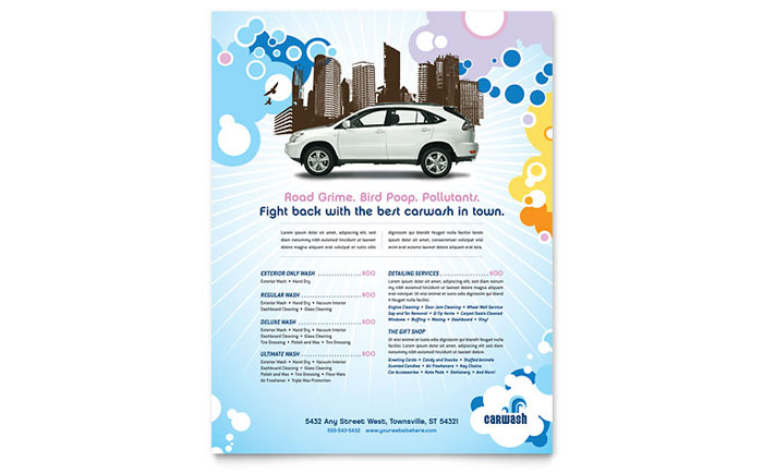 Car Wash Flyer Template Design - car wash flyer template