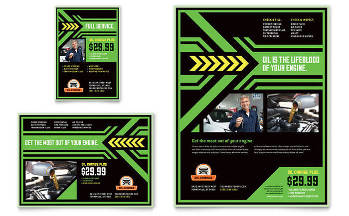 Oil Change Flyer  Ad Template Design - car ad template