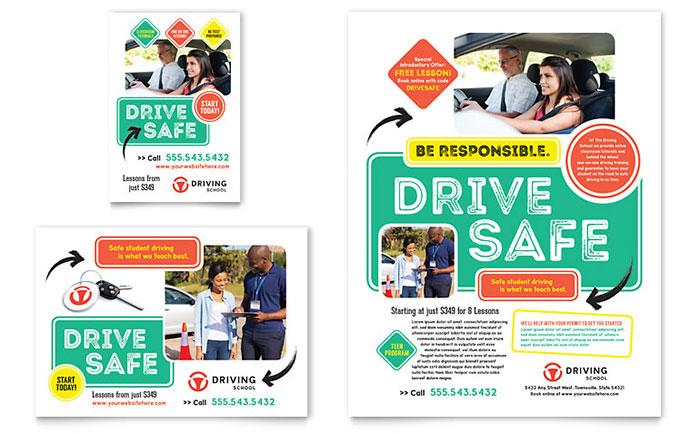 Driving School Flyer  Ad Template Design