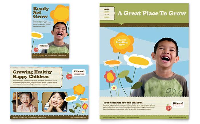 Preschool  Kindergarten Flyers Templates  Graphic Designs